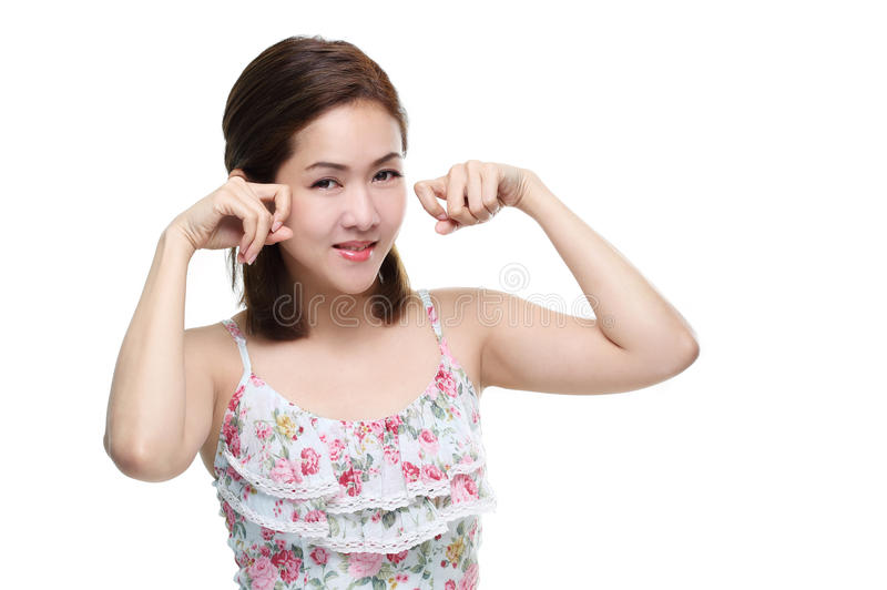 Asiatiskt lyckligt för härliga kvinnor le med bra sunt av hud din isolerade framsida royaltyfri fotografi