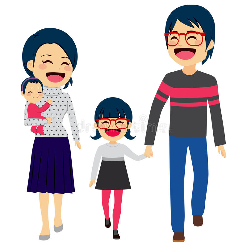 Asiatiskt lyckligt gå för familj royaltyfri illustrationer