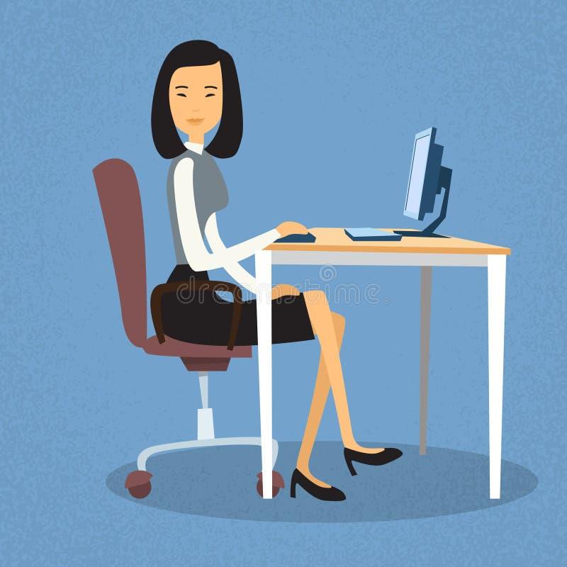 Asiatiskt sammanträde för affärskvinna på skrivbordet i regeringsställning som arbetar datorskrivbordet vektor illustrationer