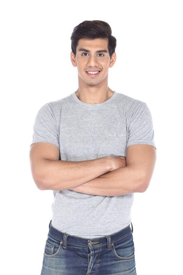Asiatiskt svart hår, bra stilig muskel se mannen royaltyfri fotografi
