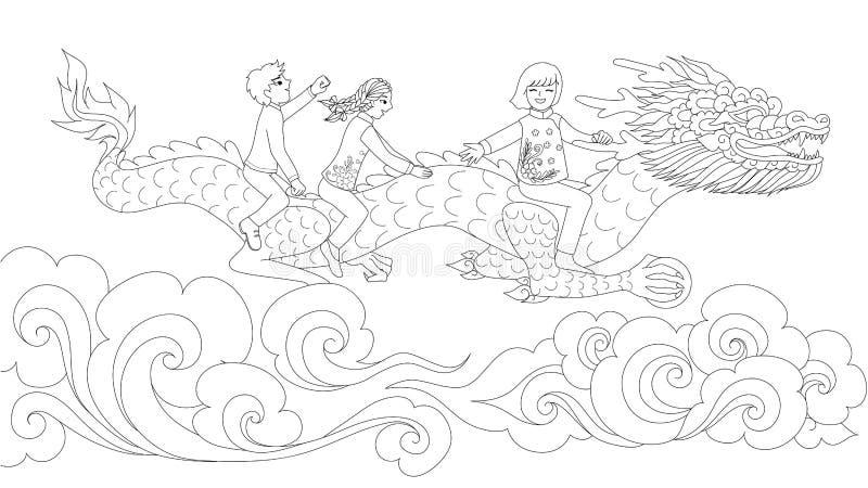Asiatungar i den kinesiska draken för traditionell klänningridning som rymmer bollen ovanför molnen för designbeståndsdel och sid royaltyfri illustrationer