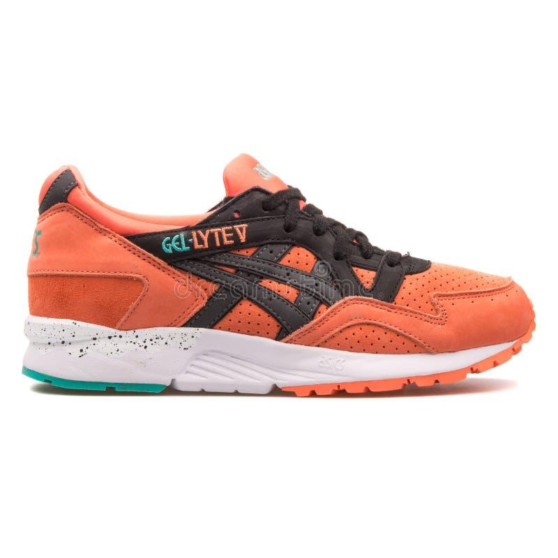 Asics Gel Lyte V coral orange and black sneaker. VIENNA, AUSTRIA - AUGUST 10, 2017: Asics Gel Lyte V coral orange and black sneaker on white background stock photo