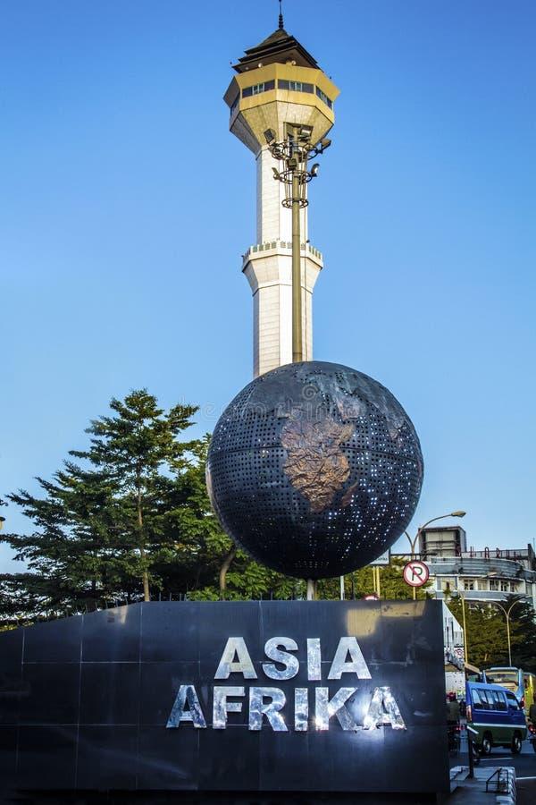 Asien Afrika monument i Bandung västra Java Indonesia fotografering för bildbyråer