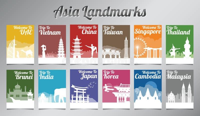 Asien berömd gränsmärke i konturdesign med mång- färgstil arkivbilder