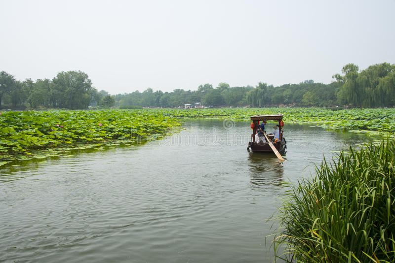 Asien China, Peking, alter Sommer-Palast, Lotosteich, das Boot stockbild