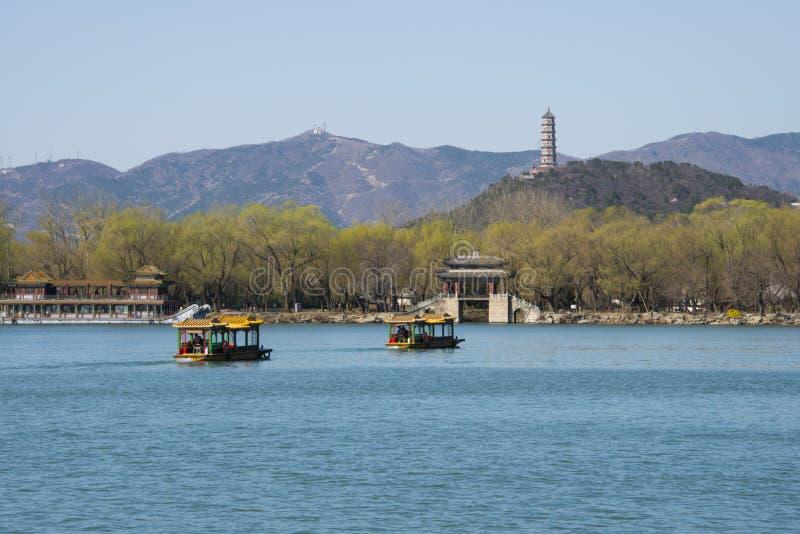 Asien China, Peking, der Sommer-Palast, Frühlingslandschaft, ¼ Kunmings Lakeï ŒStone-Brücke lizenzfreie stockfotos