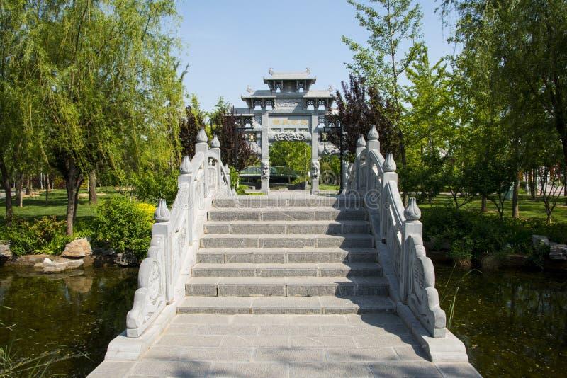 Asien-Chinese, Peking, Garten-Ausstellung, Landschafts-Architektur, Stein-bridgeï ¼ Œstone-Torbogen lizenzfreie stockbilder