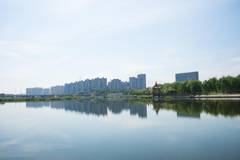 Asien-Chinese, Peking, Jianhe-Park, Lakeview lizenzfreies stockbild