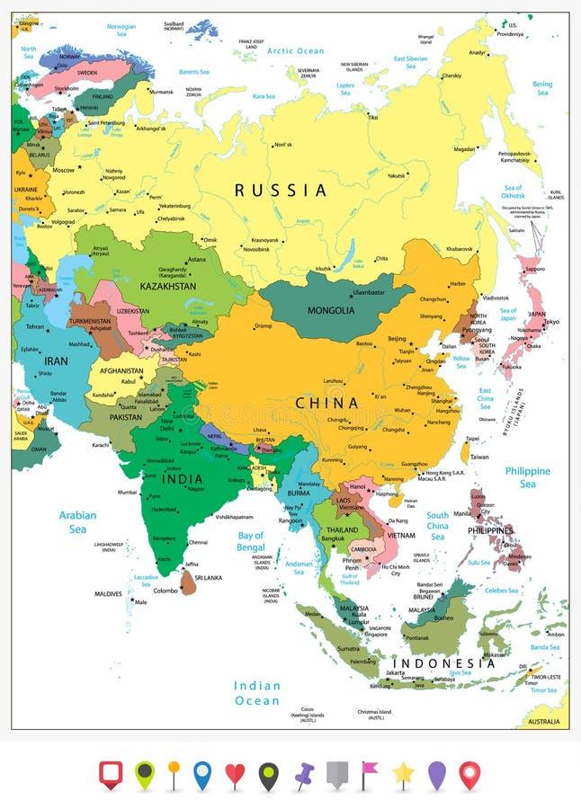 Asien führte in hohem Grade politische Karte und flache Ikonen einzeln auf lizenzfreie abbildung