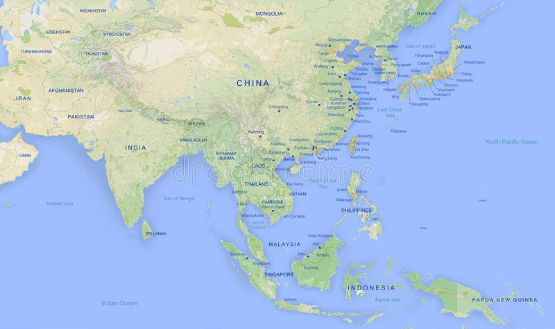 Asien-Karte in hoher Revolution 2 stock abbildung