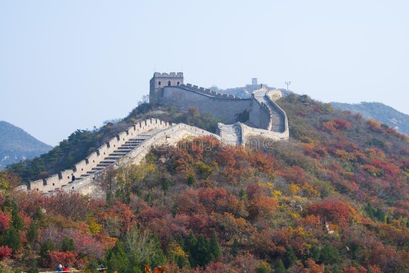 Asien Kina, Peking, badaling medborgare Forest Park, de röda sidorna, den stora väggen arkivbild