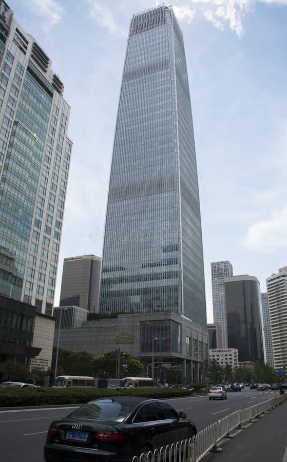 Asien Kina, Peking, central affär för CBD, Œmodern för ¼ för Kina World Trade Centertorn 3ï arkitektur fotografering för bildbyråer