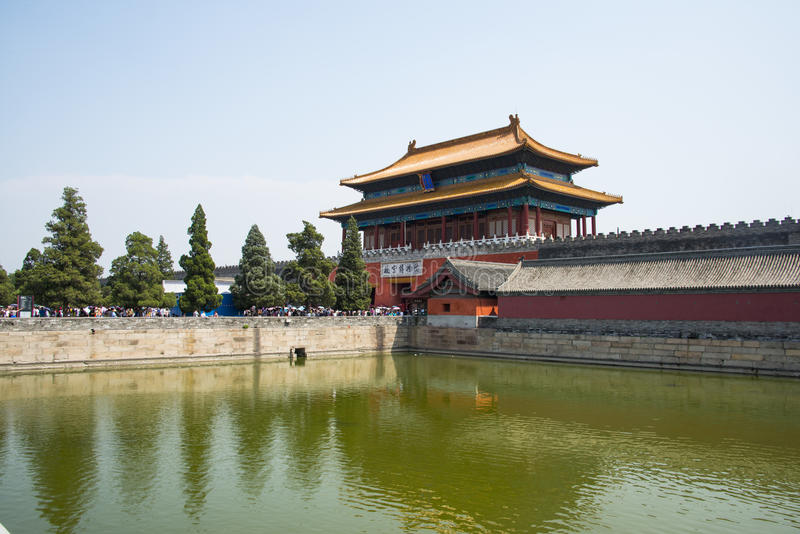 Asien Kina, Peking, den imperialistiska slotten, norr port royaltyfria foton