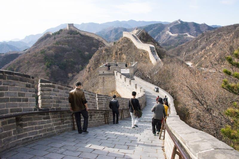 Asien Kina, Peking, historiska byggnader som badaling den stora väggen arkivbilder