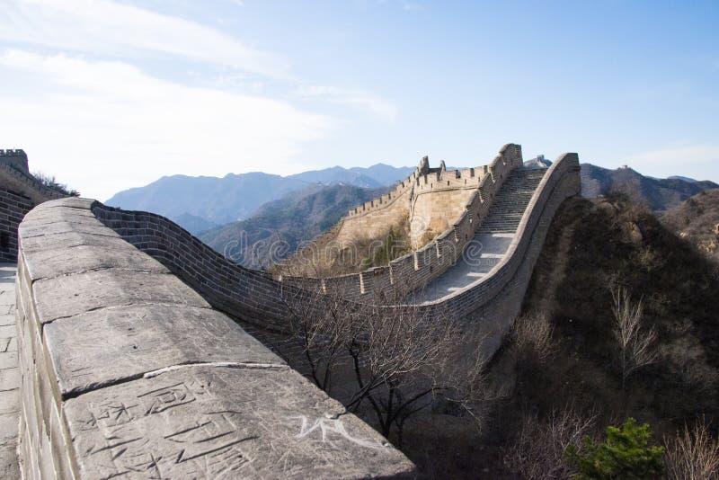 Asien Kina, Peking, historiska byggnader som badaling den stora väggen arkivbild