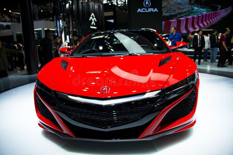 Asien Kina, Peking, internationell utställning för bil 2016, inomhus mässhall, toppen sportbil NSX, Acura royaltyfri fotografi