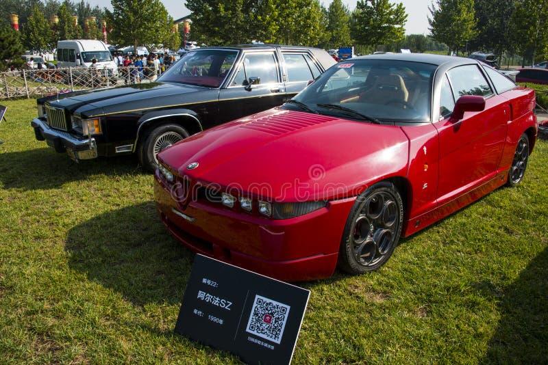 Asien Kina, Peking, klassisk bilshow, Alfa Romeo SZ bil royaltyfri fotografi