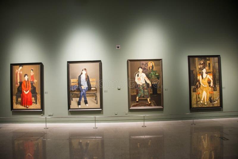 Asien Kina, Peking, nationellt museum, inomhus mässhall royaltyfria bilder