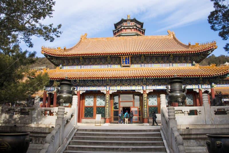 Asien Kina, Peking, sommarslotten, trädgårds- byggnader, paviljonger arkivbilder