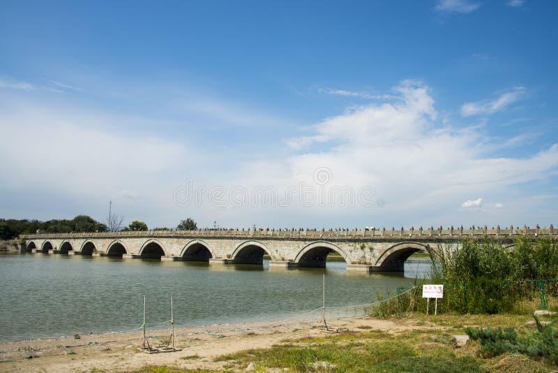 Asien Kina, Peking WanPinghu parkerar, landskap av trädgårdar, sjön, den Lugou bron arkivfoto