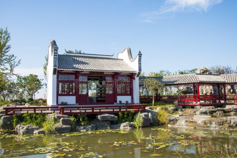 Asien Kina, Wuqing, Tianjin, grön expo, landskapsarkitektur, borggård arkivbilder