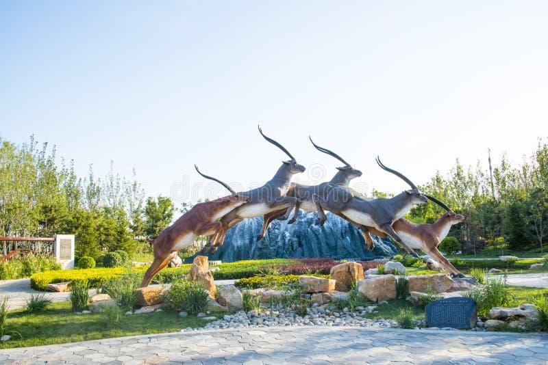 Asien Kina, Wuqing Tianjin, grön expo, rinnande hjort arkivfoto
