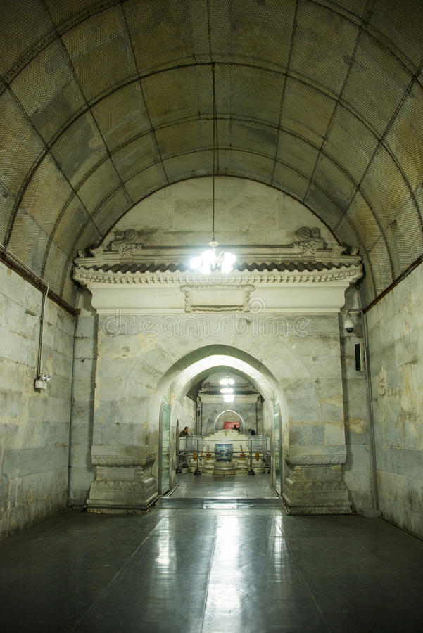 Asien kines, Peking, ŒUnderground för ¼ för Ming Dynasty Tombsï ¼Œunderground palaceï gravvalv royaltyfri bild