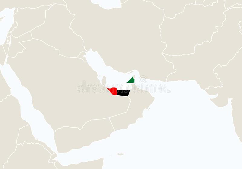 Asien med den markerade Förenade Arabemiraten översikten royaltyfri illustrationer
