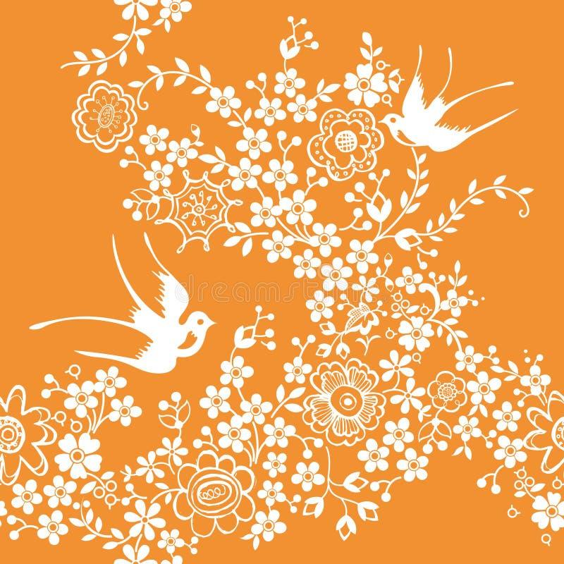 Asien mit Blumen und Vogel vektor abbildung