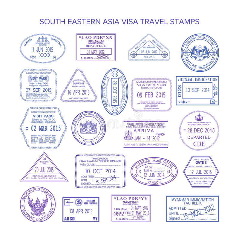 Asien-ReiseSichtvermerke des Vektors südöstliche eingestellt stock abbildung