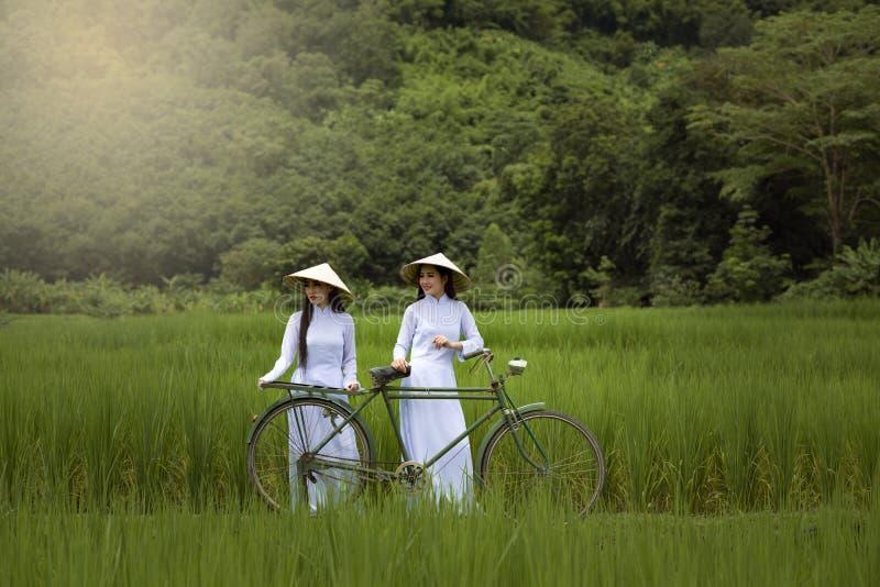 Asien-Schönheiten in Trachtenkleid AO Dai Vietnam lizenzfreie stockfotografie