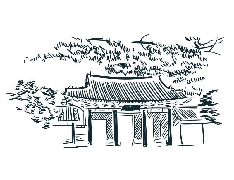 Asien Seul skissar illuatration för konst för vektorstadsgem stock illustrationer
