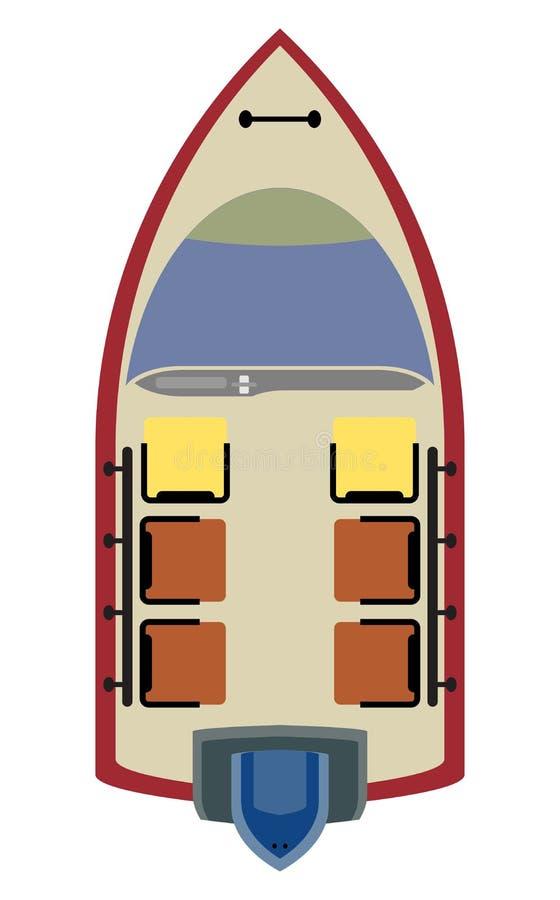 Asiente el mapa del pequeño barco de Moter en el fondo blanco ilustración del vector