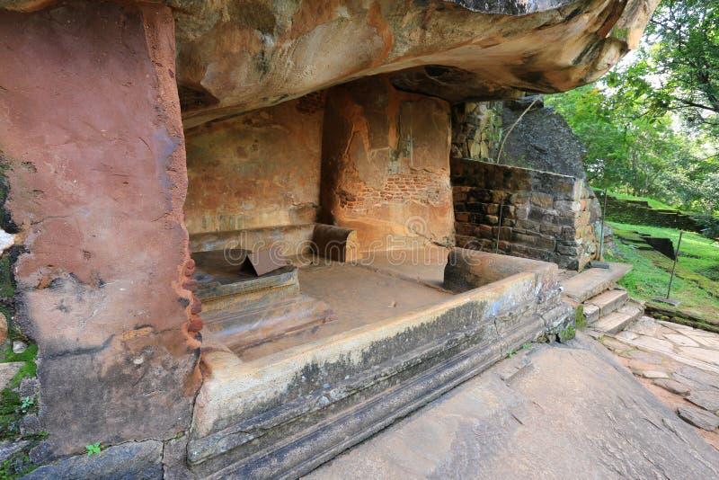 Asiento antiguo en el castillo de Sigiriya fotografía de archivo libre de regalías