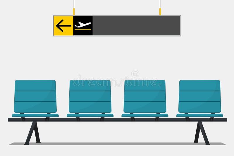 Asiento azul del aeropuerto en zona de espera y señalización wayfinding ilustración del vector