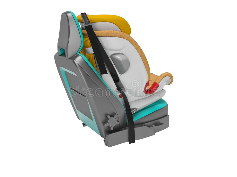 Asiento de carro anaranjado del bebé con cinco correas de la seguridad del punto con el isofix 3d no rendir en el fondo blanco ni ilustración del vector
