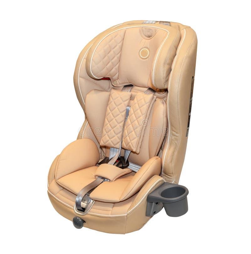 Asiento de carro auto del bebé de cuero beige aislado foto de archivo