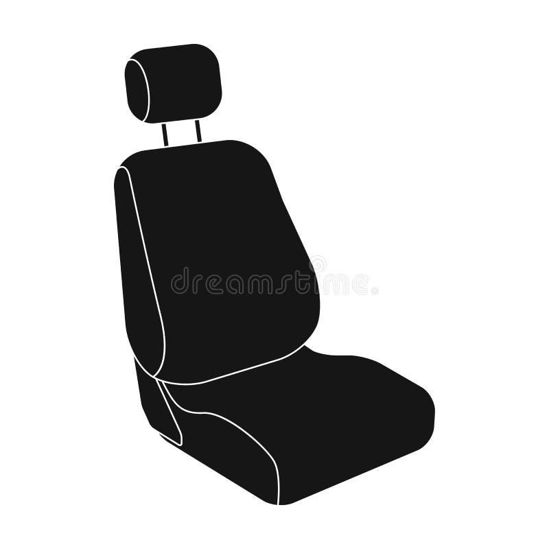 Asiento de carro Solo icono del coche en web negro del ejemplo de la acción del símbolo del vector del estilo stock de ilustración