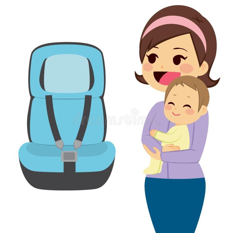 Asiento de coche de bebé stock de ilustración