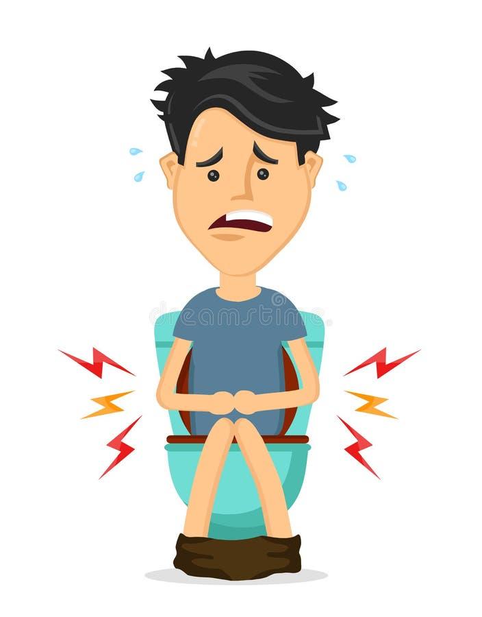 Asiento de inodoro que se sienta del hombre joven con diarrea ilustración del vector