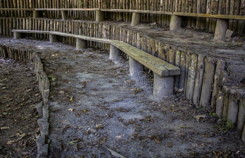 Asiento de madera en el bosque imagenes de archivo
