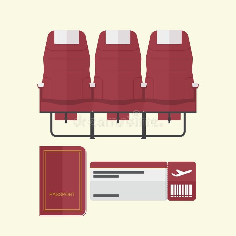Asiento del aeroplano con el pasaporte y documento de embarque en diseño plano libre illustration