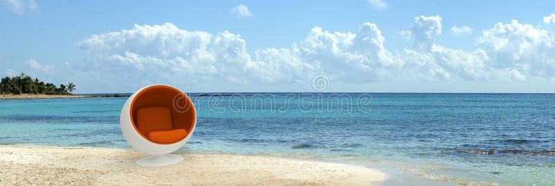 Asiento del diseñador en playa tropical ilustración del vector