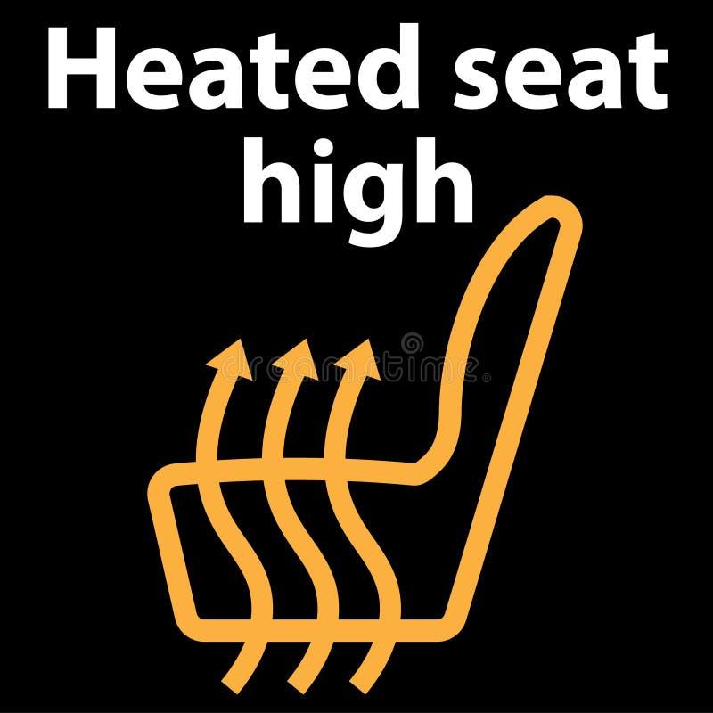 Asiento heated alto, botón, icono, icono del tablero de instrumentos, ejemplo en color anaranjado, racimo del instrumento - error stock de ilustración