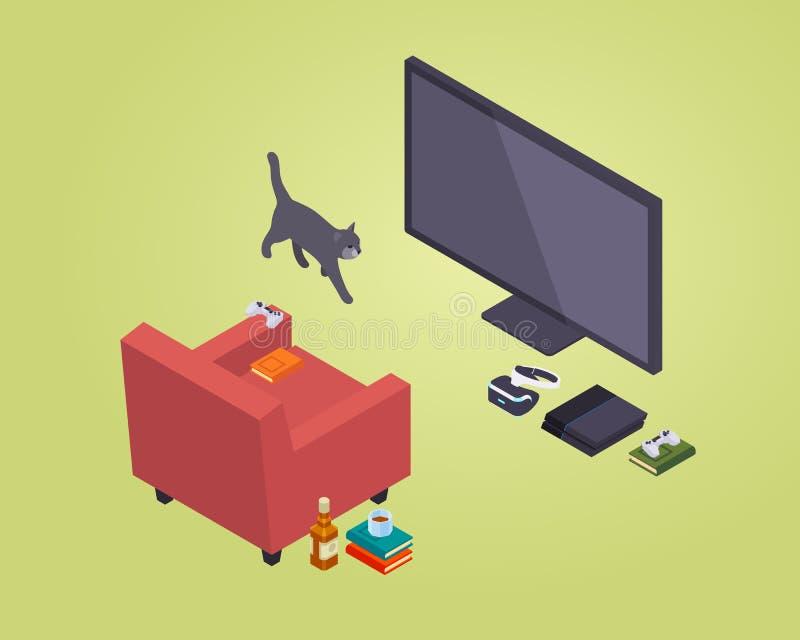 Asiento isométrico del videojugador stock de ilustración