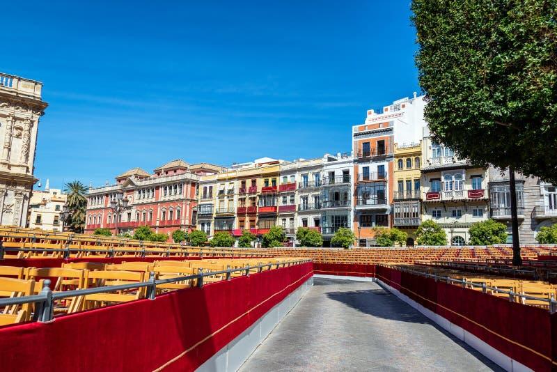 Asiento para la semana santa en Sevilla, España imagenes de archivo
