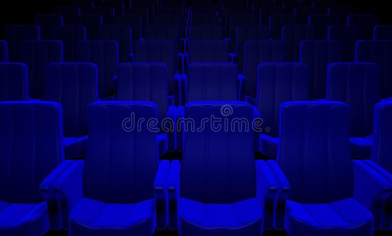 Asientos azules del cine ilustración del vector