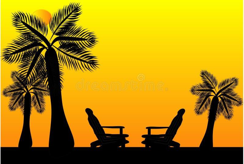 Asientos en silueta del paraíso ilustración del vector