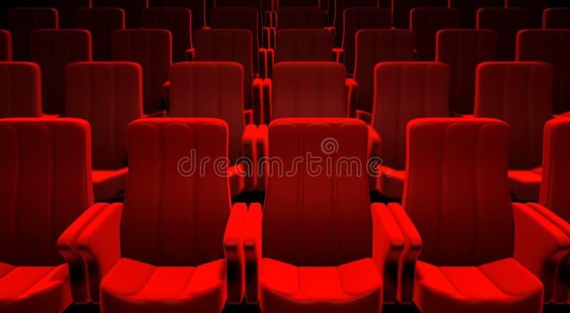 Asientos rojos del cine stock de ilustración