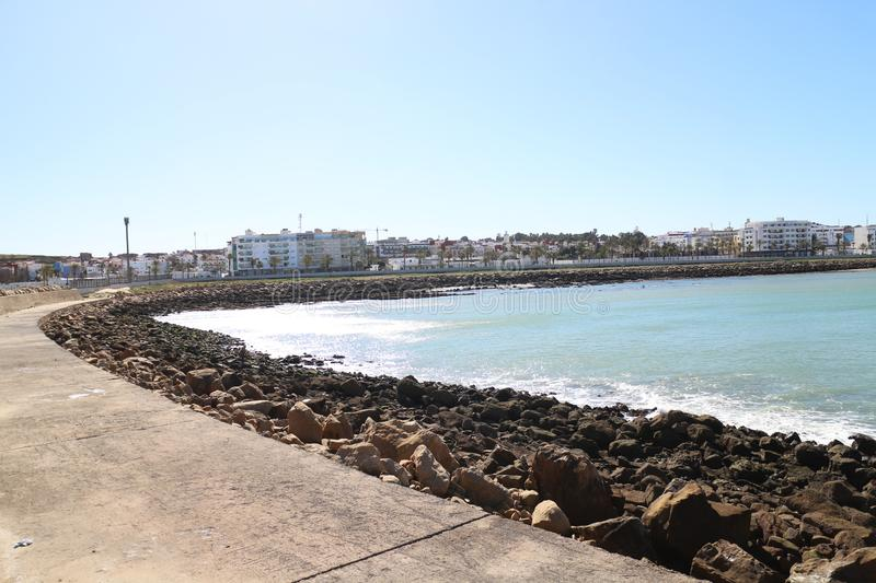 Asilah beach in the cost of morocco. Konwn as traditional fishing royalty free stock photography